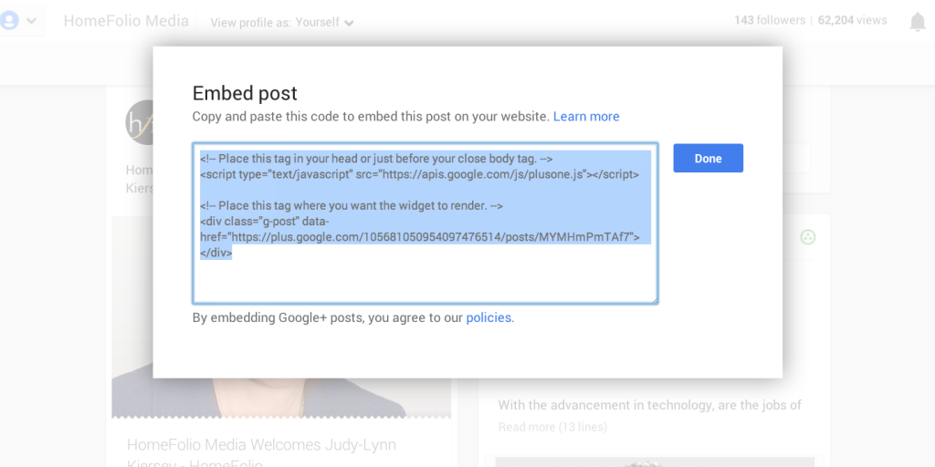 embed post pop window on Google+