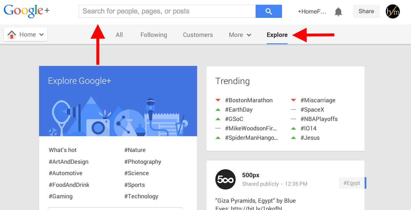 explore hashtags